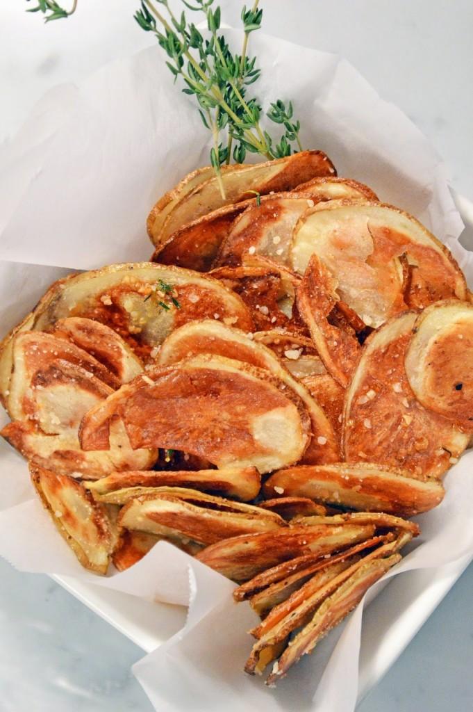 how to make baked potato chips crispy