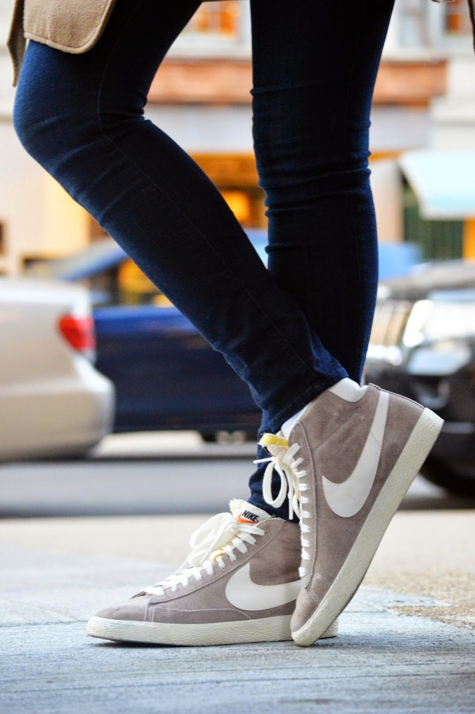 neutral Nike high-top sneakers