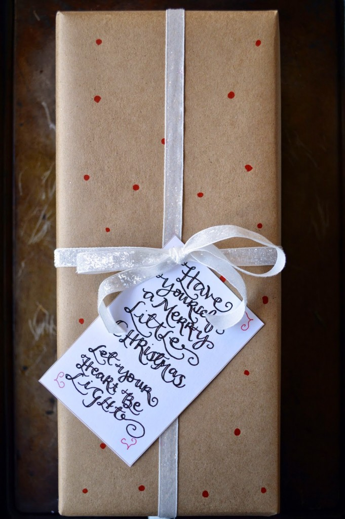 glitter ribbon and dot Kraft paper gift wrap