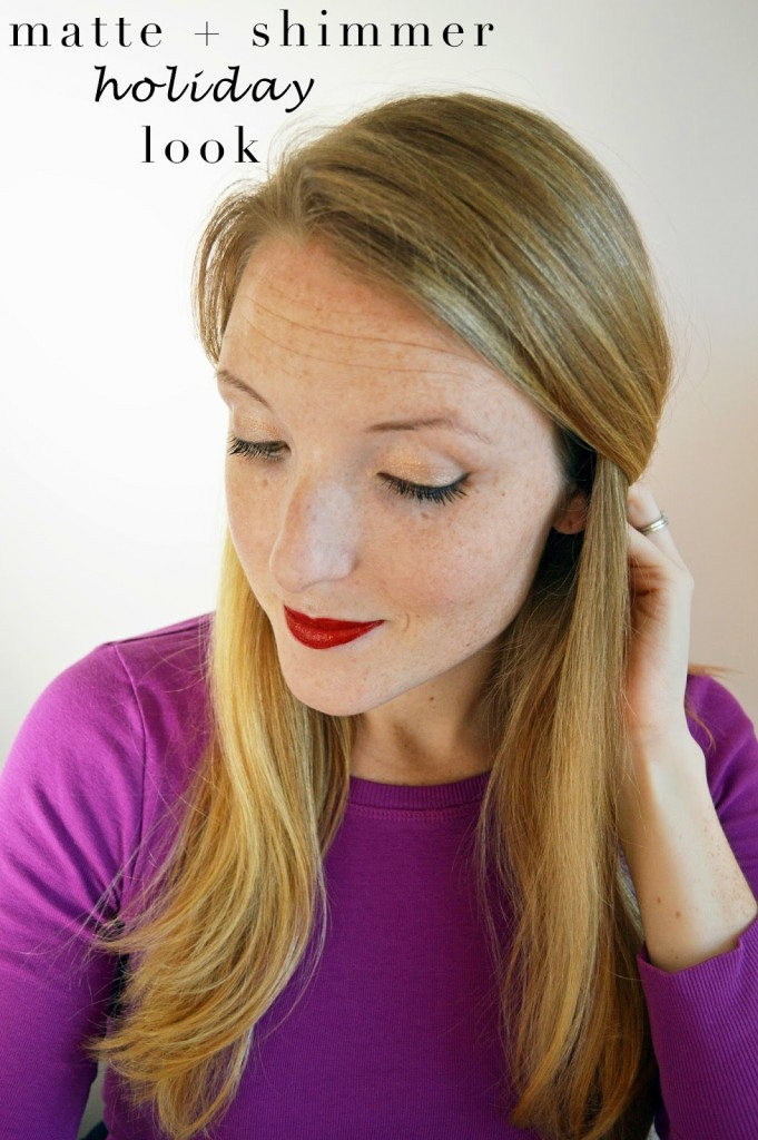 matte red gold shimmer holiday makeup look