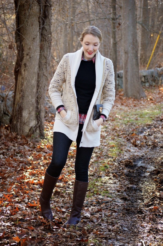 women's cozy fall layered plaid outfit