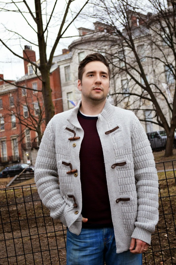 Men's cozy toggle knit sweater