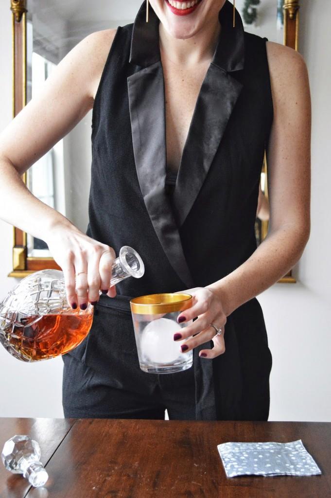 sexy black tuxedo jumpsuit
