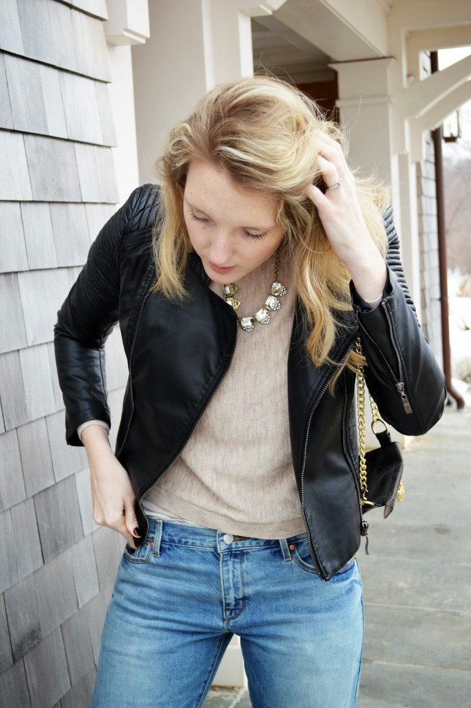 black leather quilted motorcycle jacket