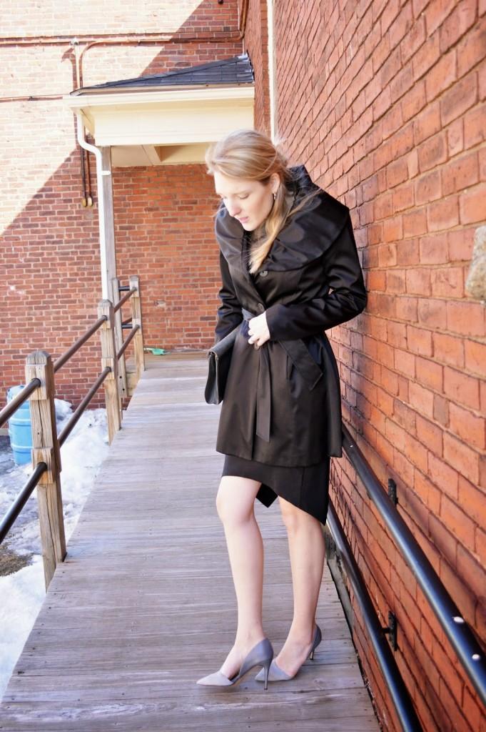 black shawl collar trench coat