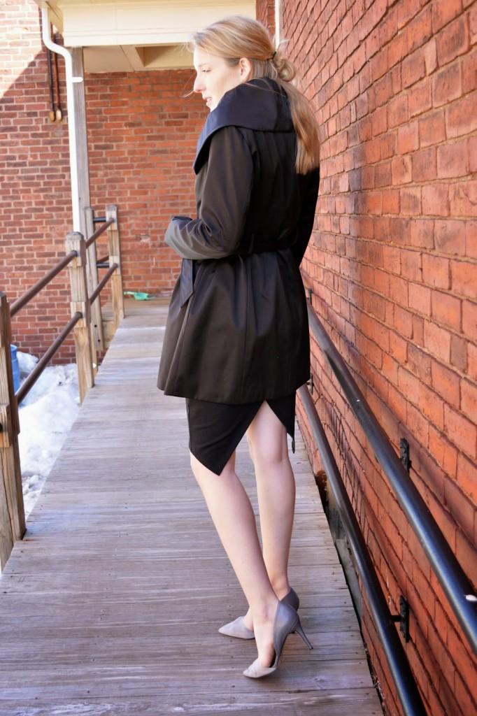 women's black envelope pencil skirt