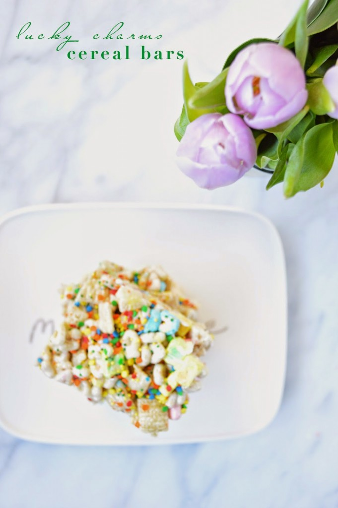 easy St. Patrick's Day recipe lucky charms cereal bars