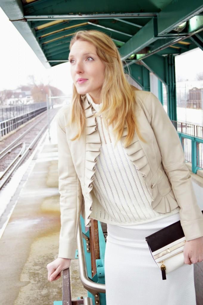 women's ruffle leather jacket