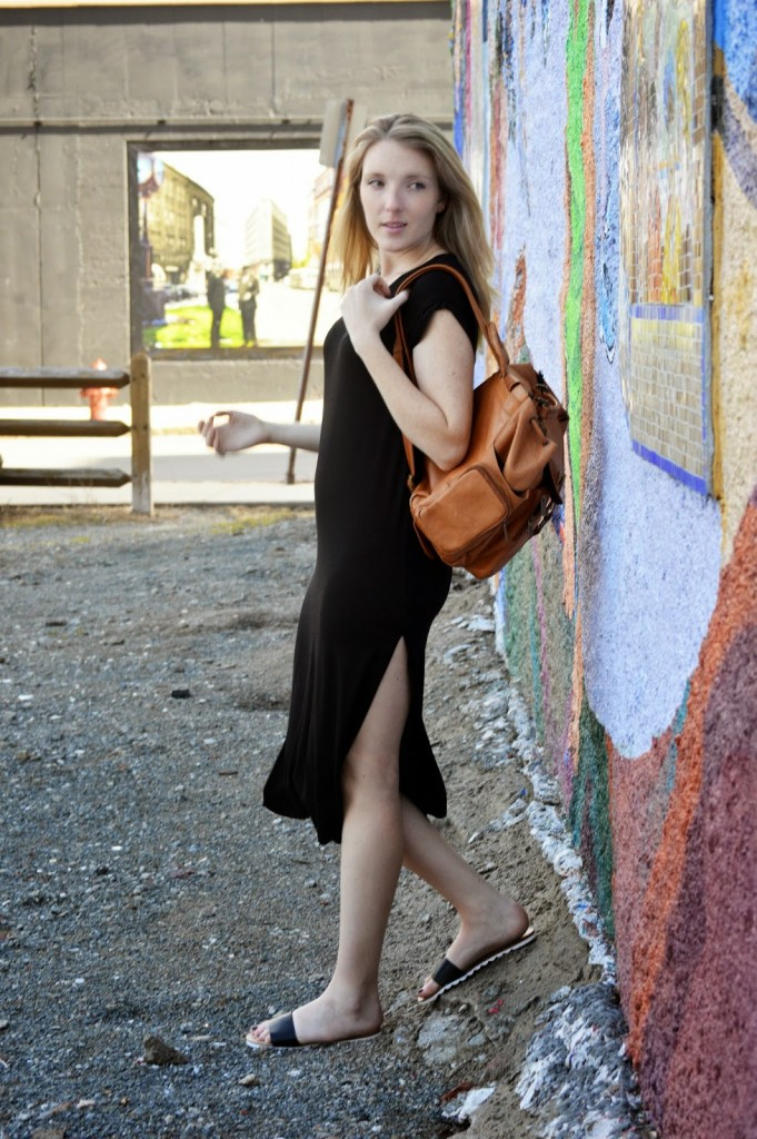 high slit black maxi dress
