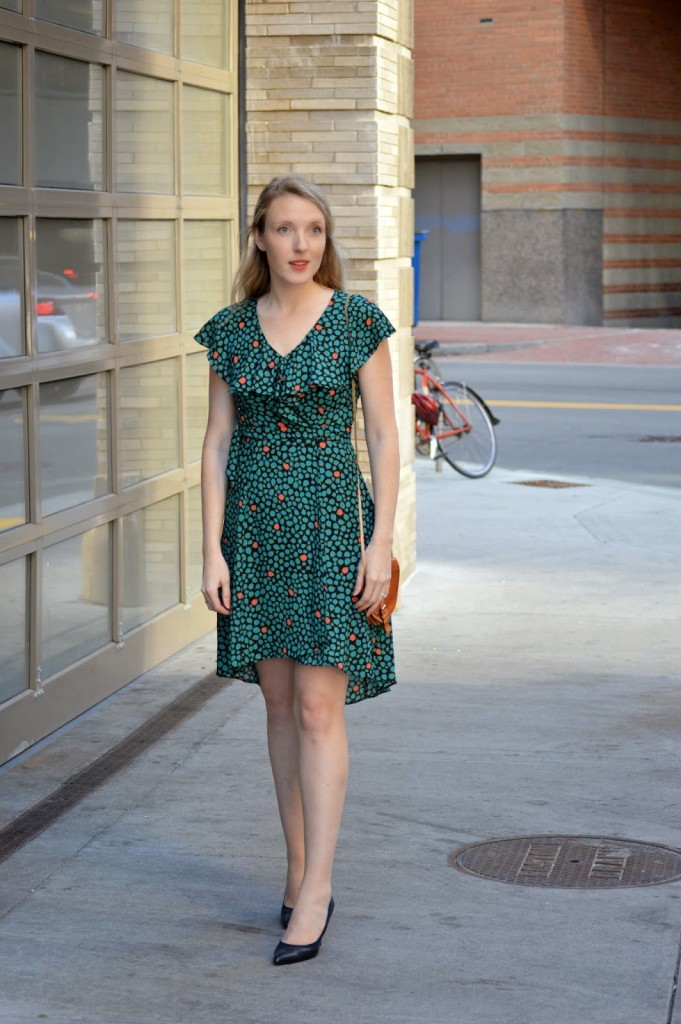 spring ruffle faux wrap dress from Anthropologie