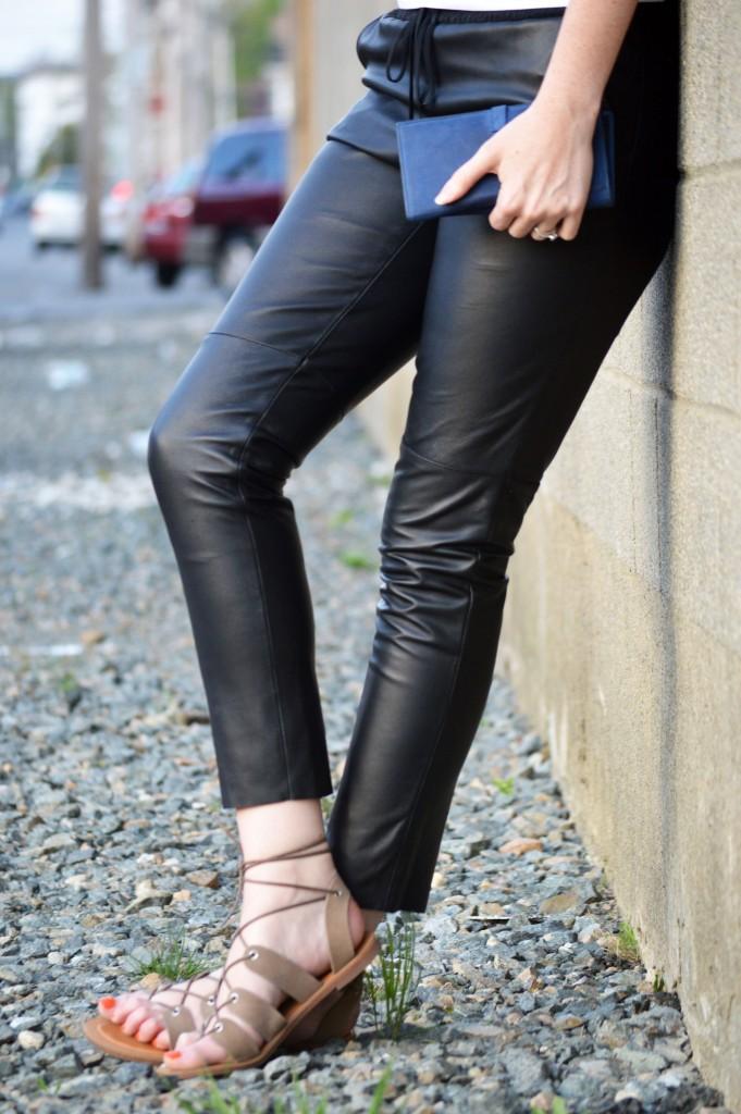Trina Turk leather jogger pant
