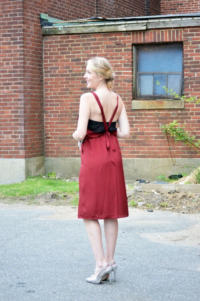 sexy marsala summer dress with snakeskin heels