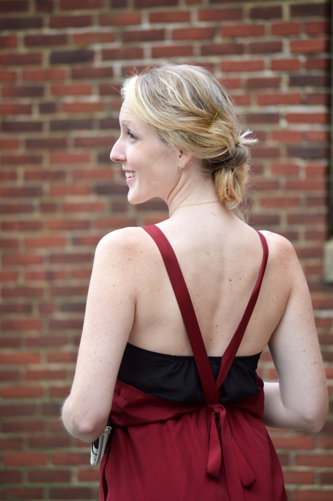 1.State dress with sexy bow tied back
