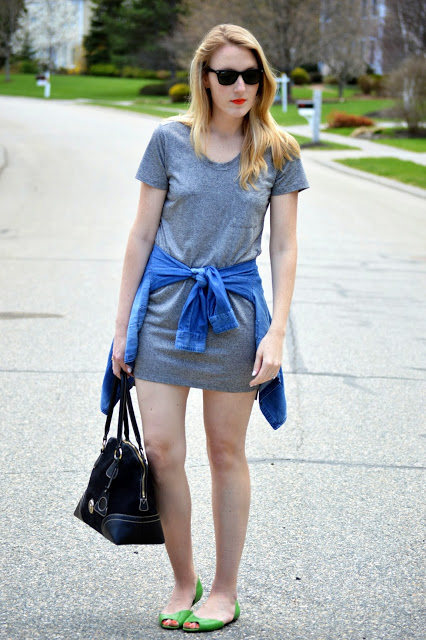 chambray shirt tied at the waist