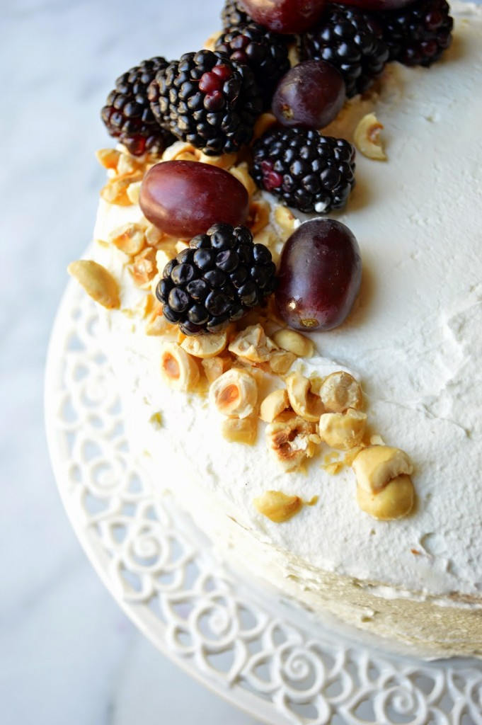 fresh fruit and nuts as cake decor