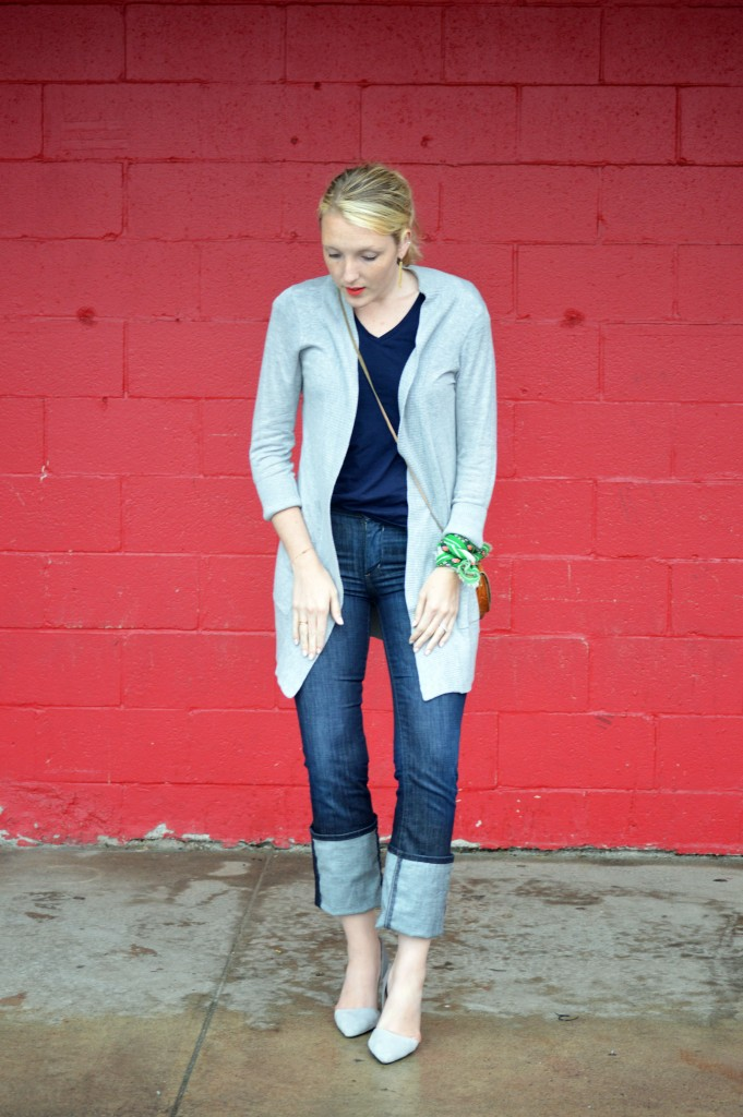 casual outfit with wide cuff denim and styled scarf