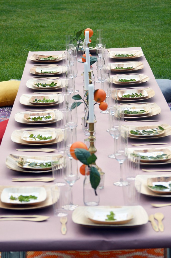 simple elegant outdoor dinner table decor