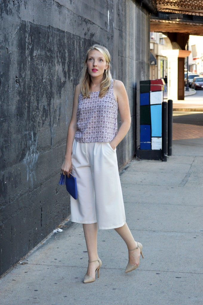 colorful, minimal summer look with wide leg culottes