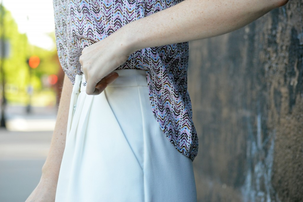 high waisted pleated white culottes