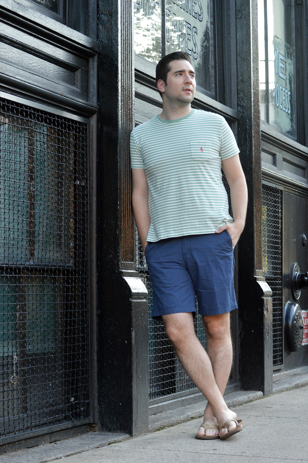 men's striped and patterned casual summer outfit