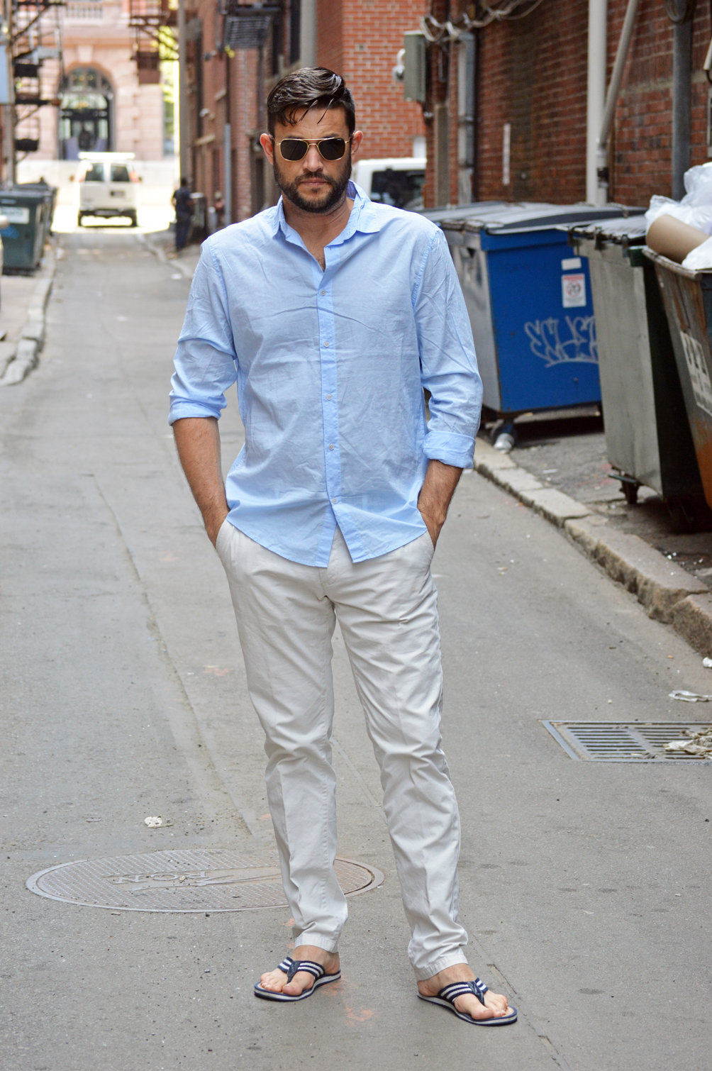 light chinos, flip flops, linen shirt