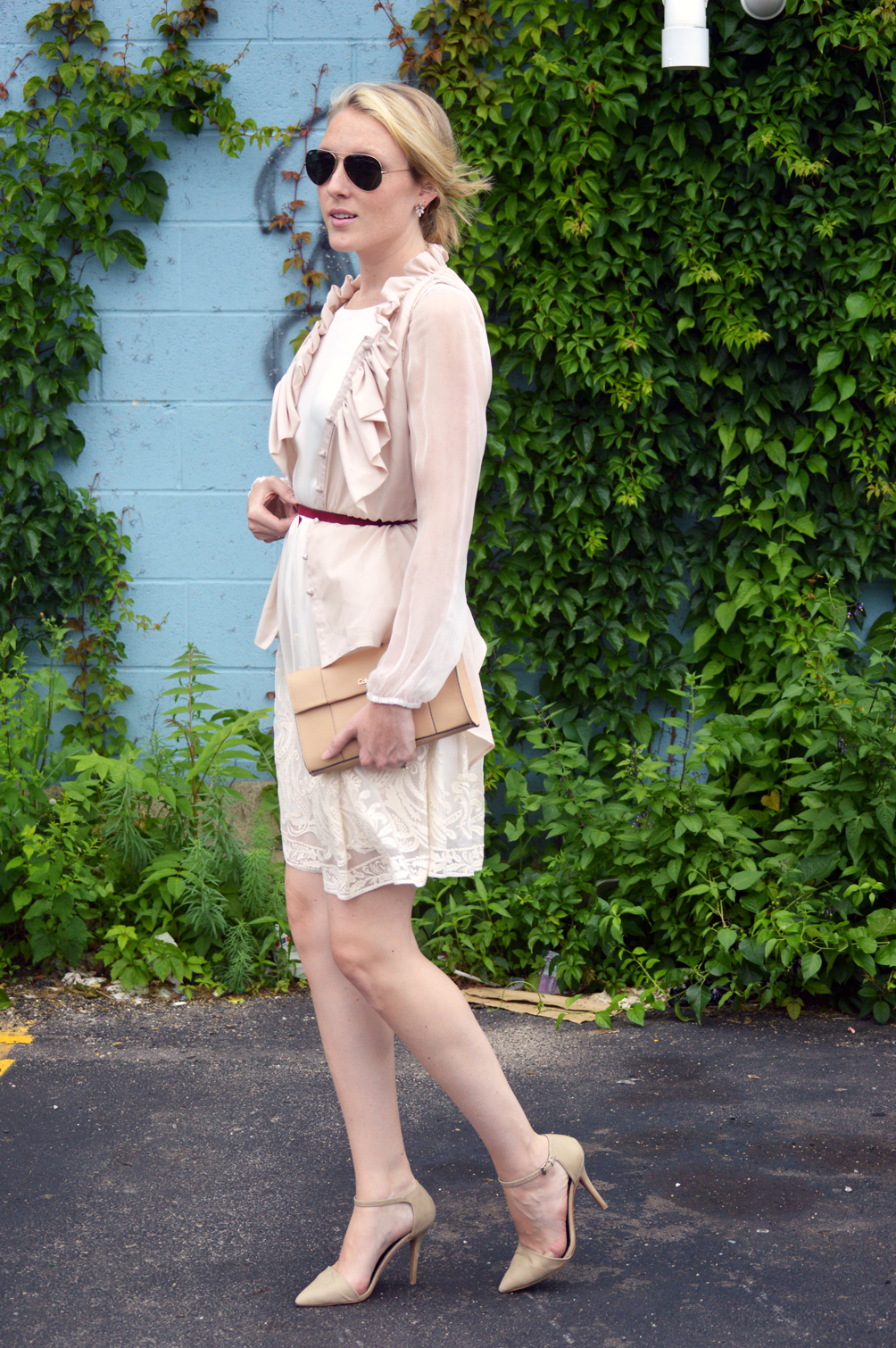 sheer sleeve lace dress summer outfit idea