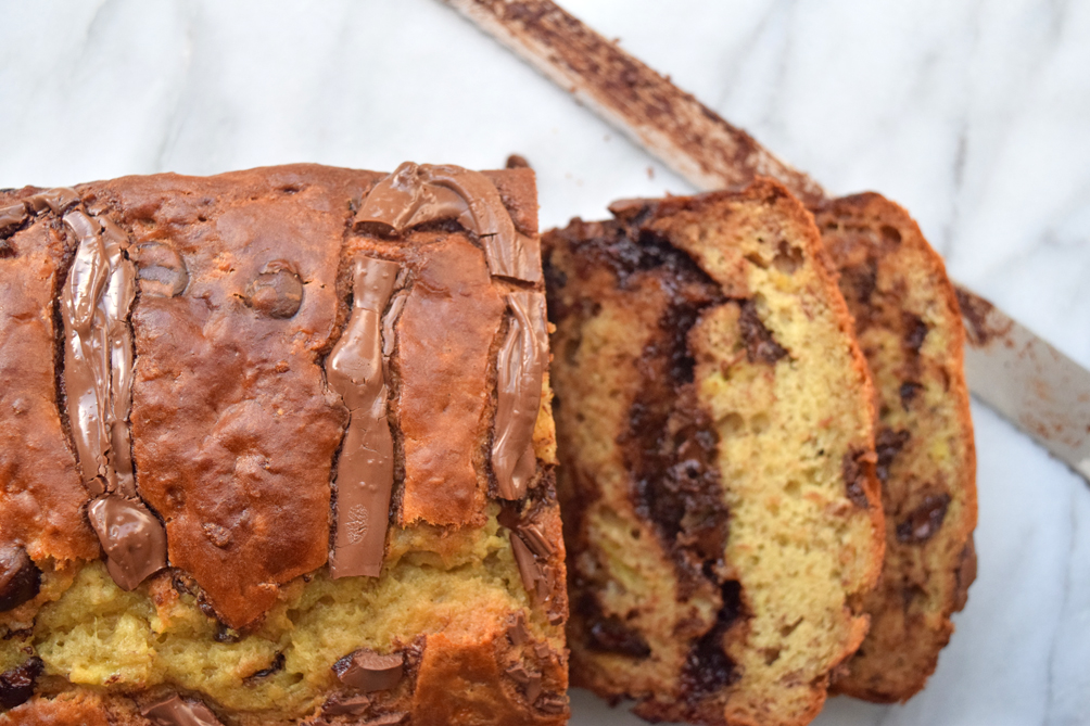 chocolate chip banana bread with nutella swirl