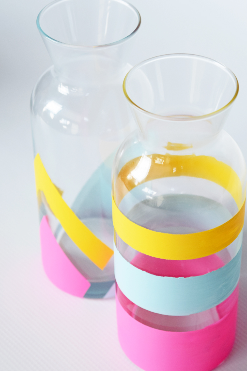 DIY painted carafes tutorial with images