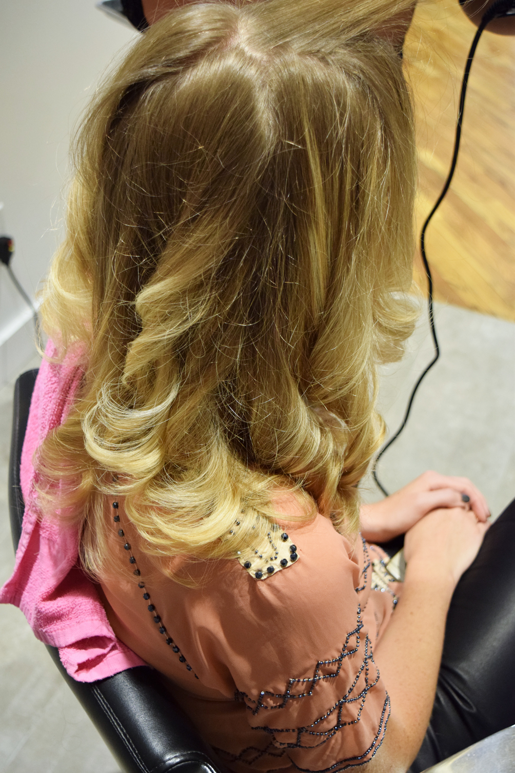medium length hair curly blowout