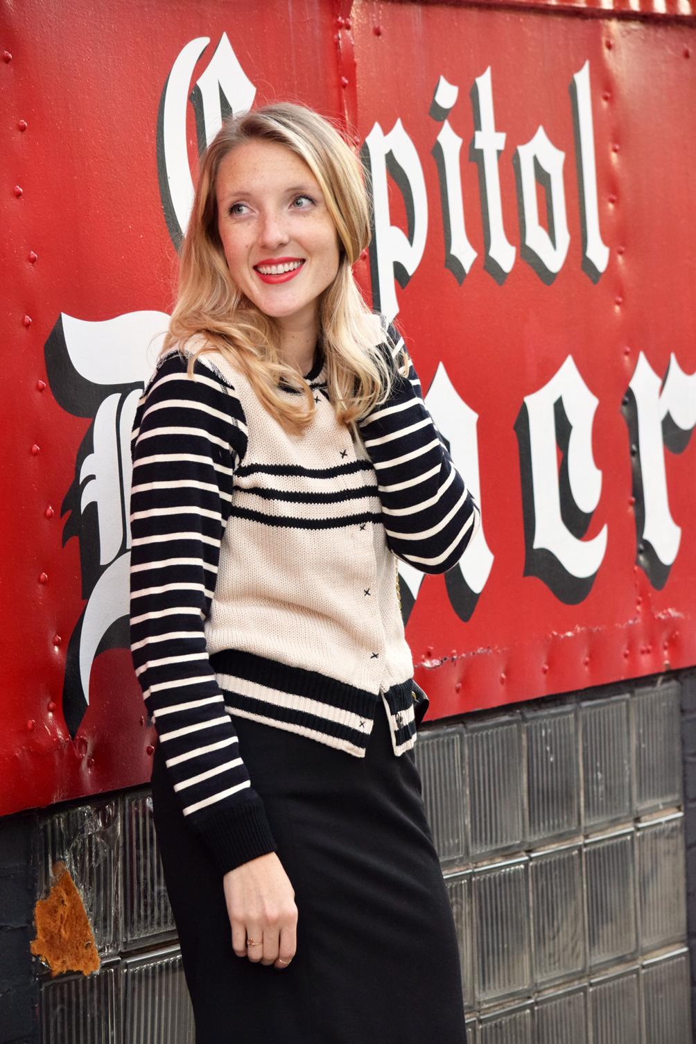 striped letterman sweater