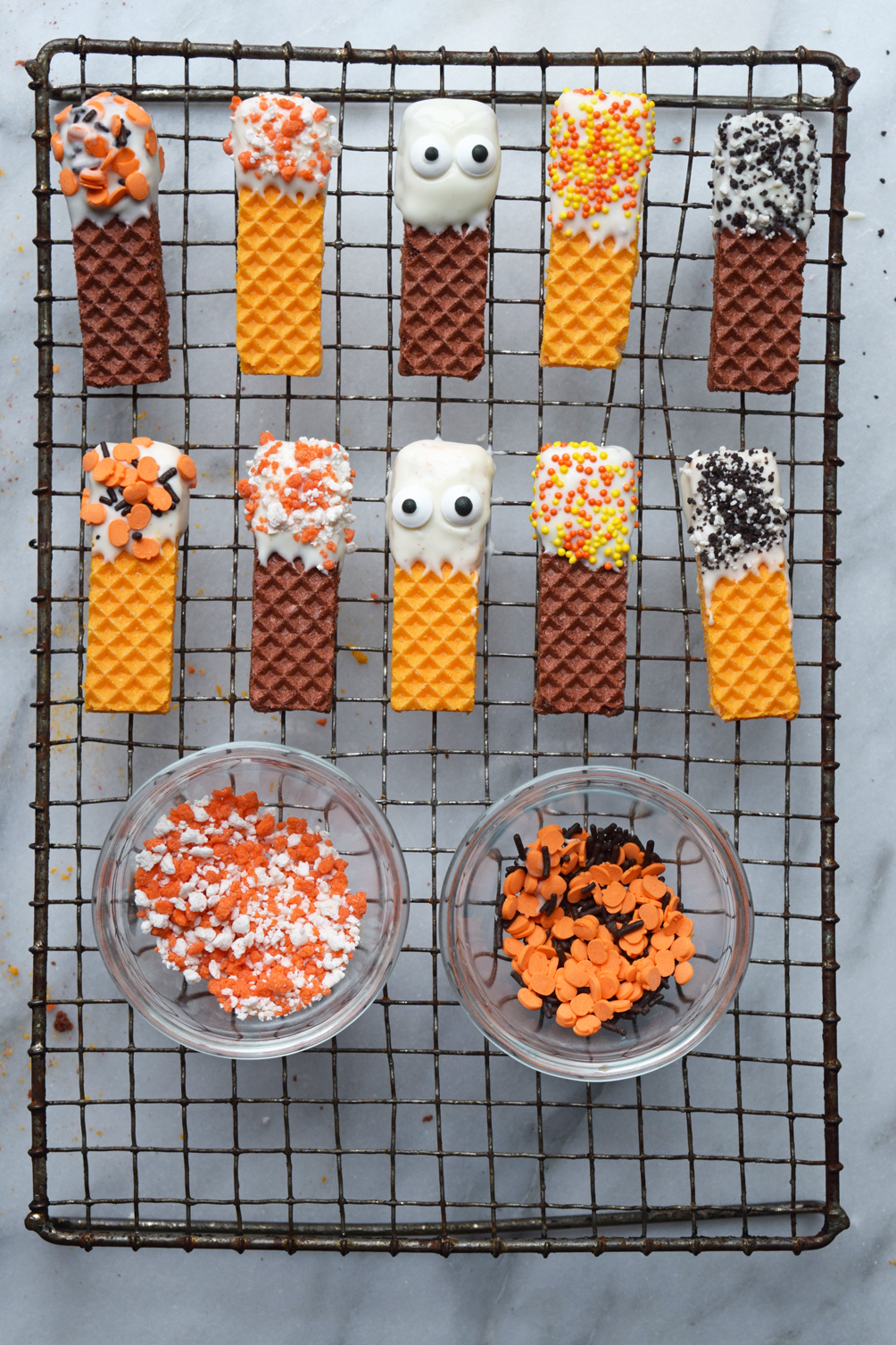 decorated sugar wafer cookies for Halloween