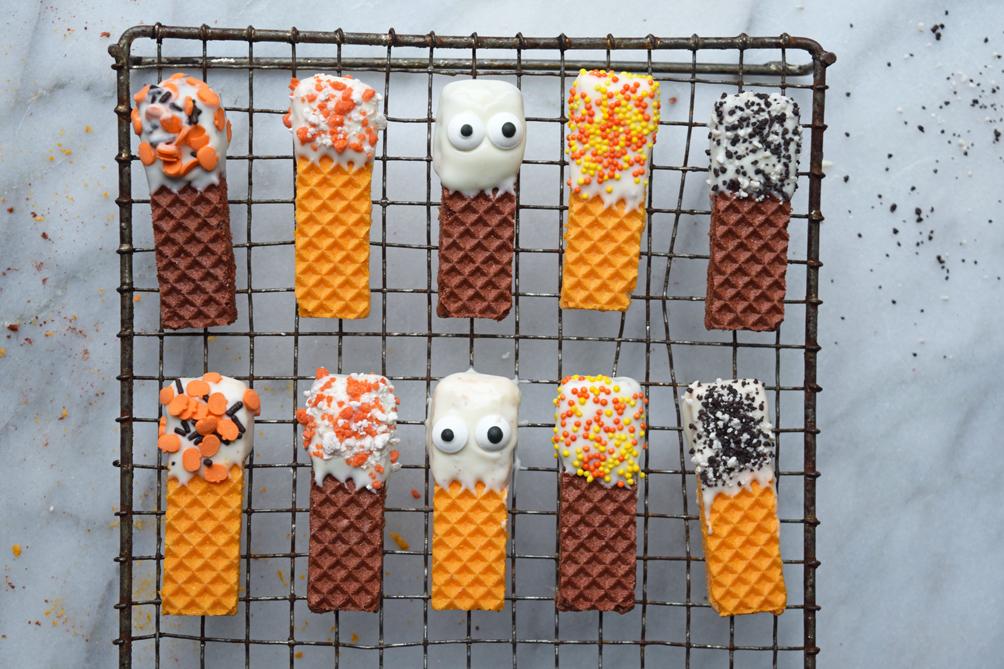 spooky sugar wafer cookies