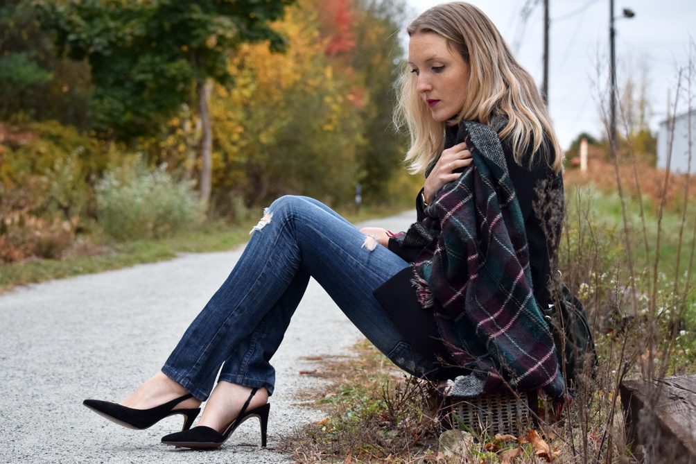 destroyed denim and black suede slingback heels