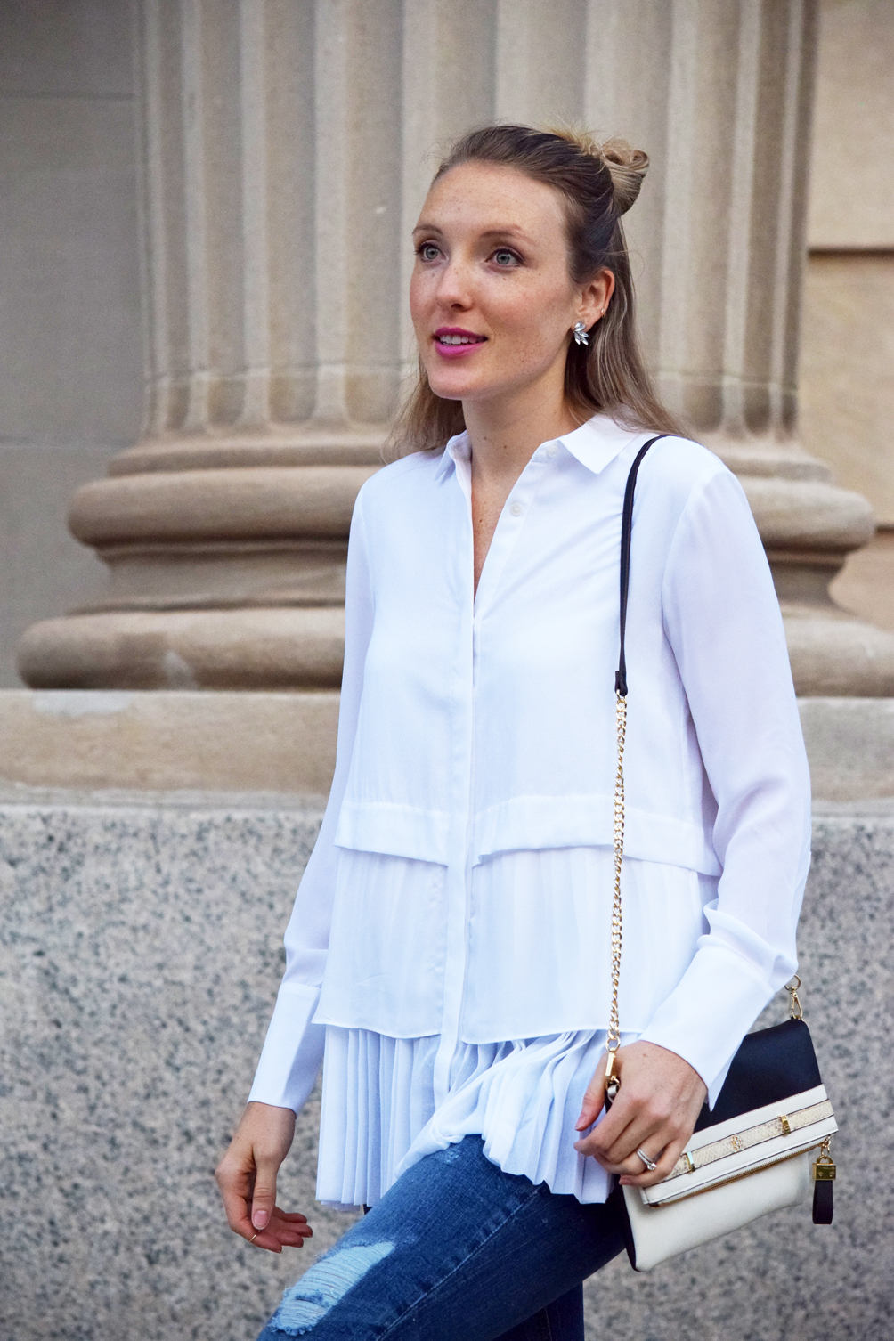 pleated button-down blouse