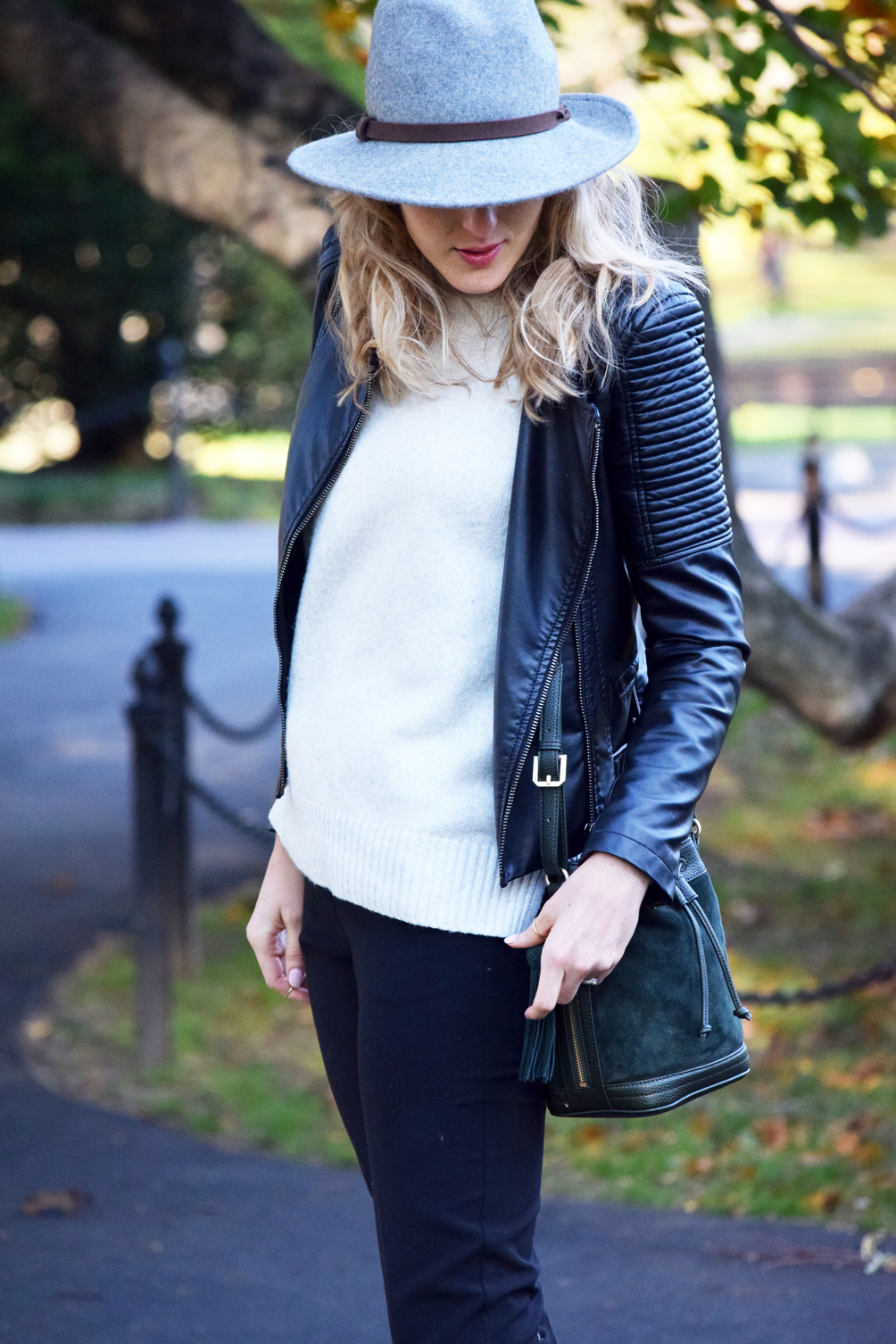 quilted leather moto jacket and turtleneck sweater