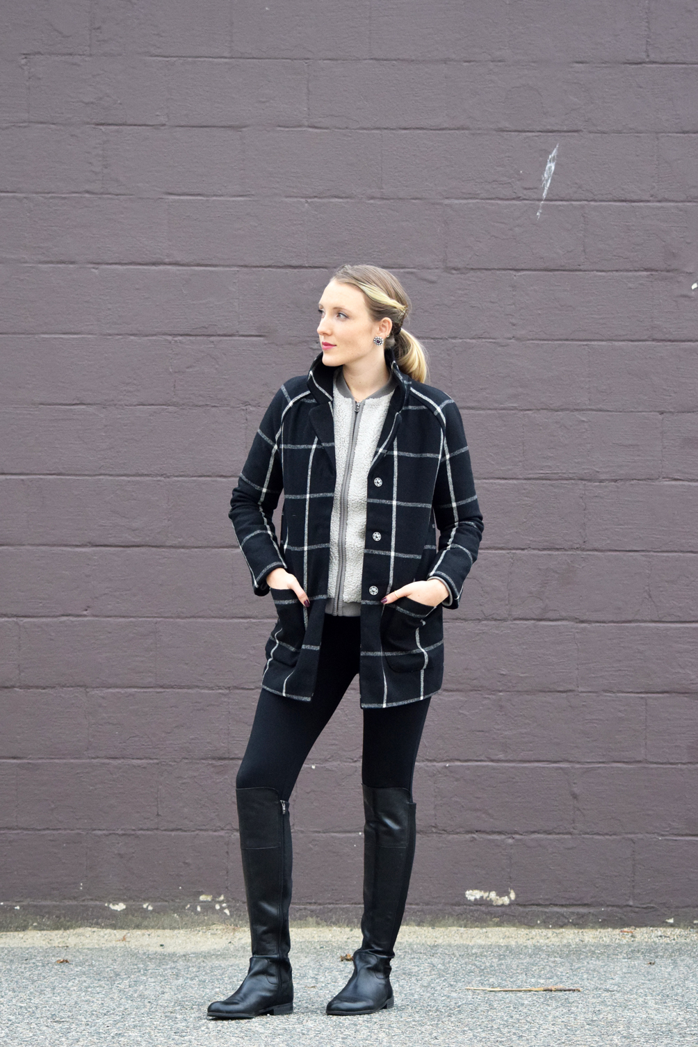 Old Navy style checkered coat, fuzzy jacket, black leggings