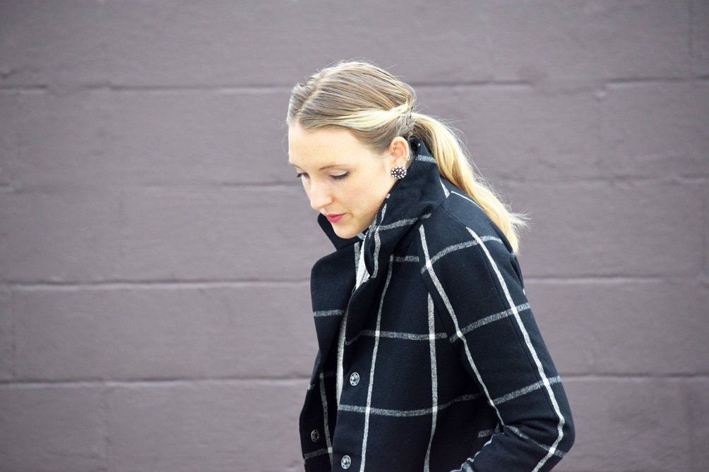 checkered oversized winter coat