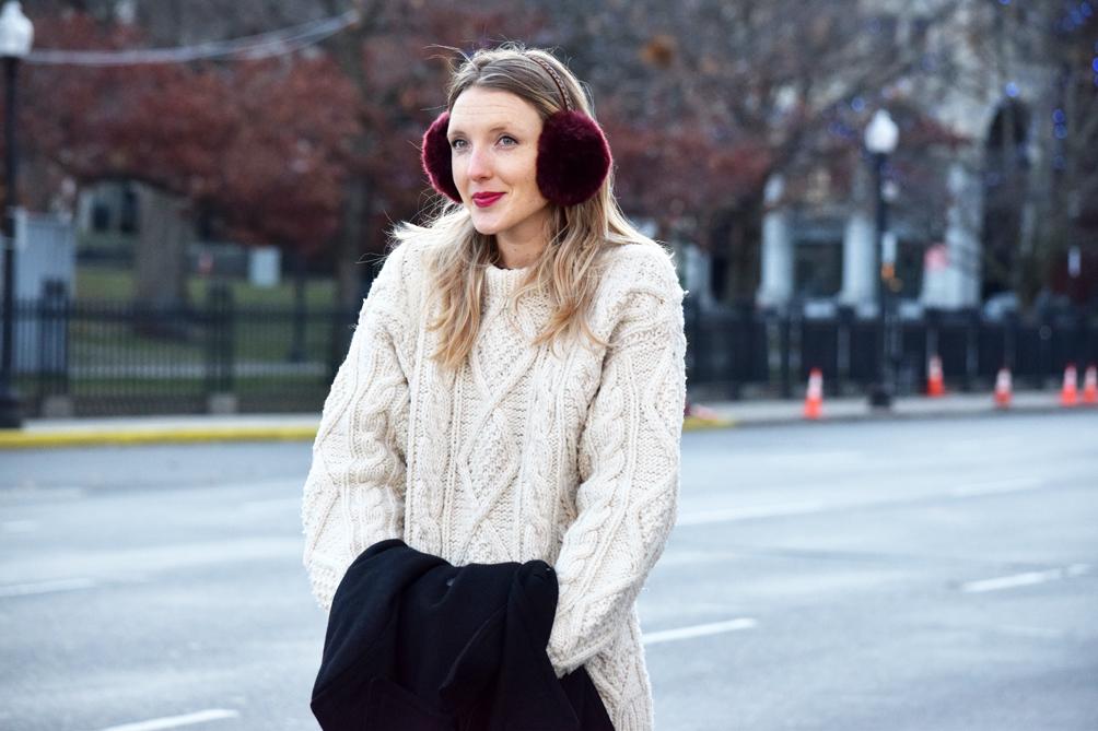 anthropologie faux fur earmuffs in oxblood