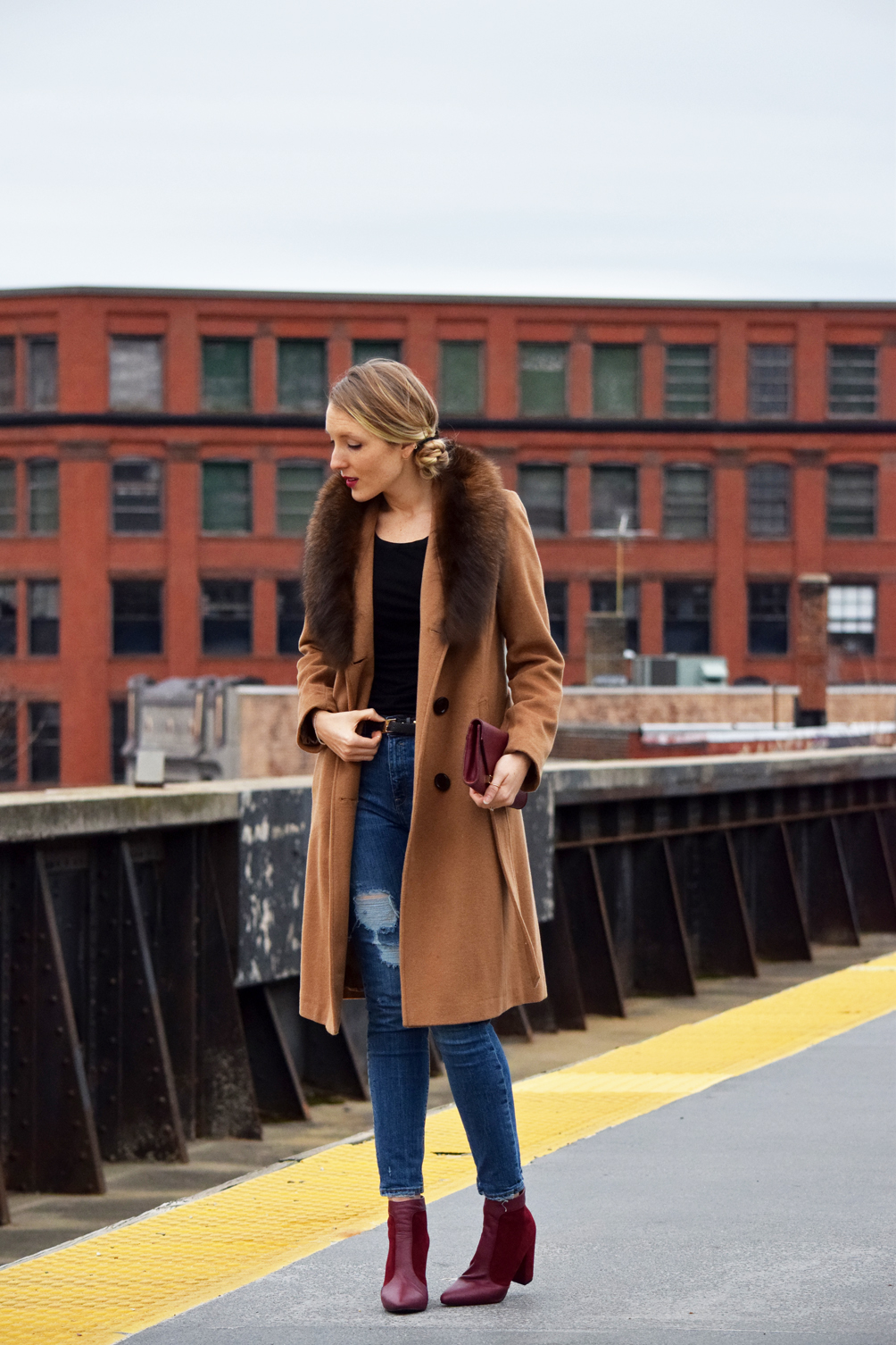 leather and suede oxblood boots outfit inspiration