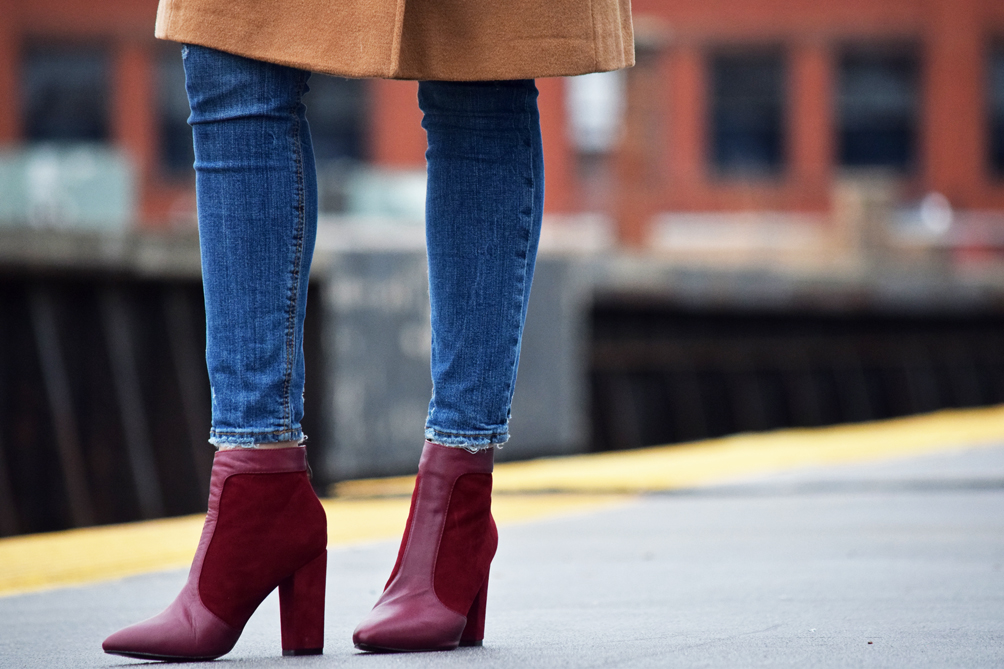 suede and leather ankle boots in burgundy