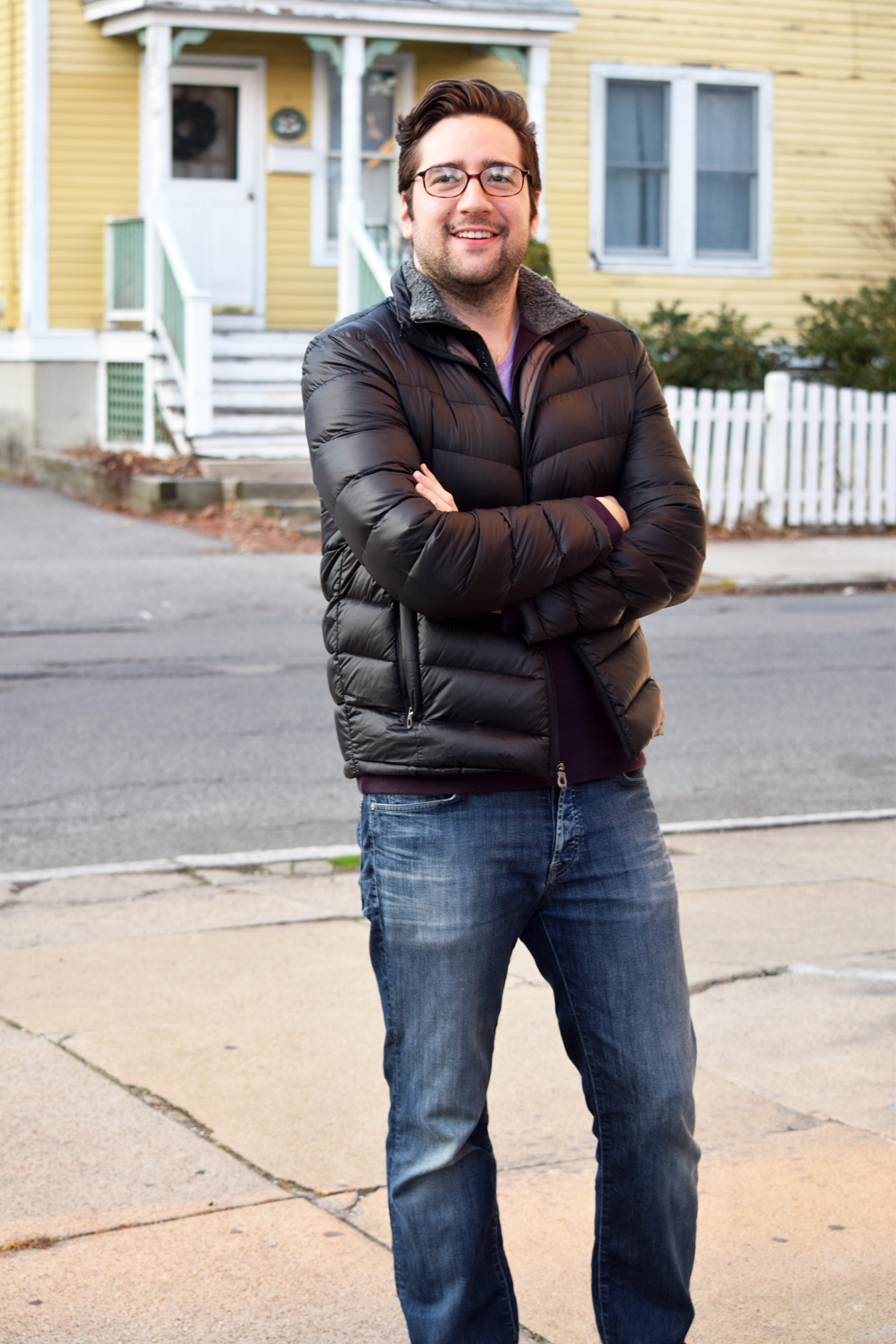 men's 7FAM jeans and puffer jacket