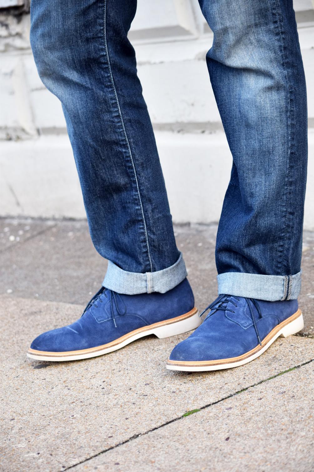 men's Cole Haan blue lace-up oxfords