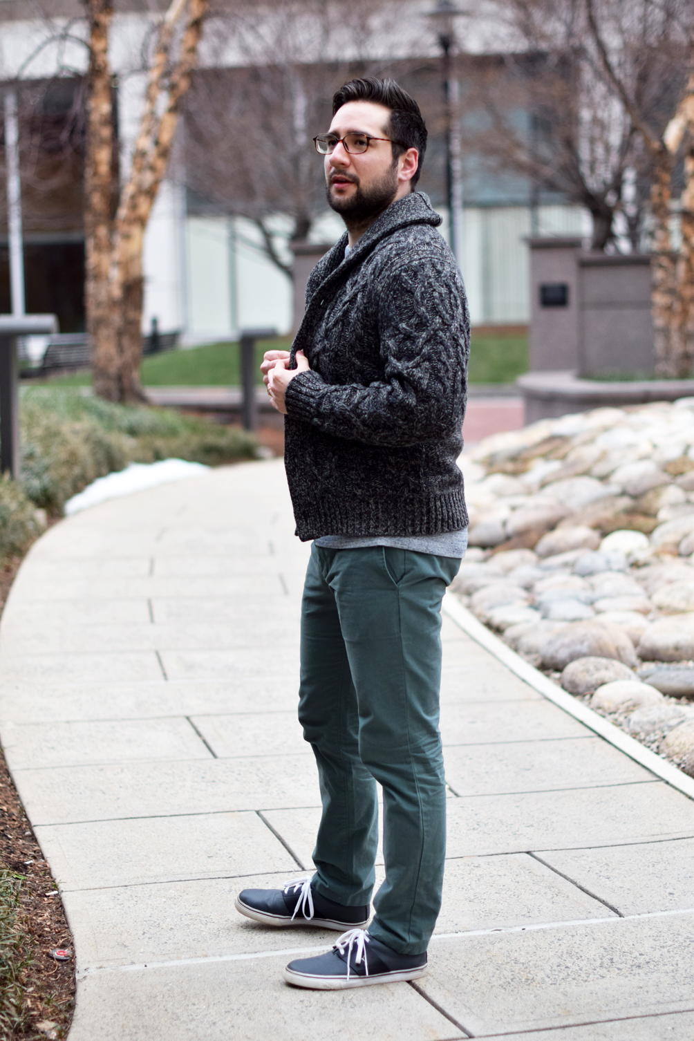 men's layered crewneck sweater and cable knit sweater - one brass fox