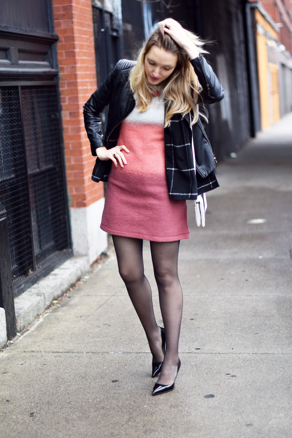layered dress with a cape and sheer tights
