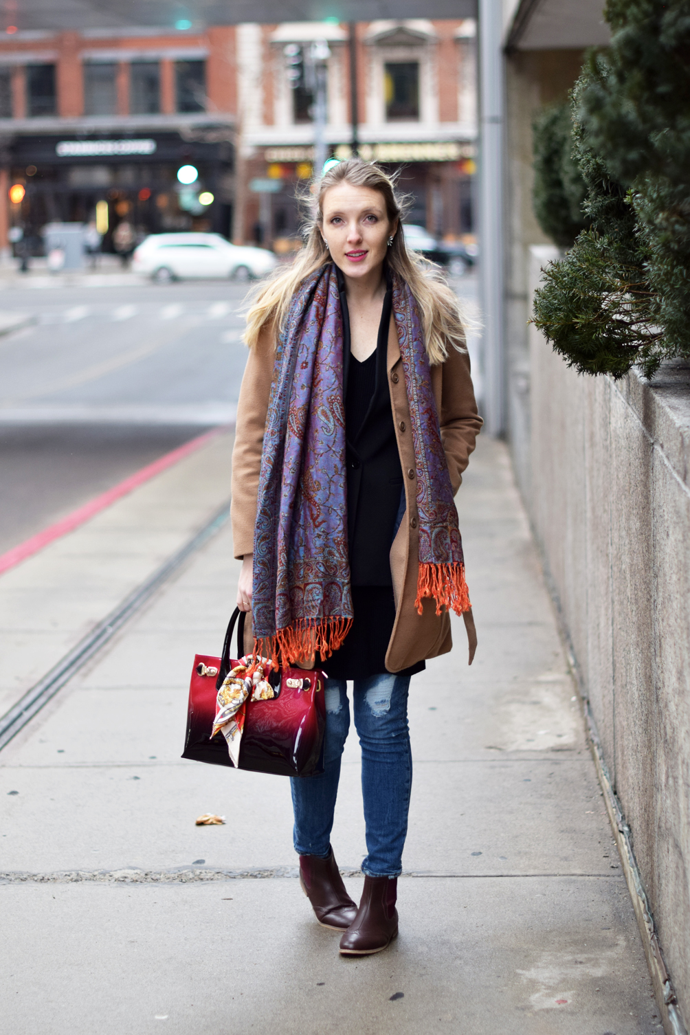 layered sweater dress outfit with skinny jeans and a camel coat 2aaa8f5fa