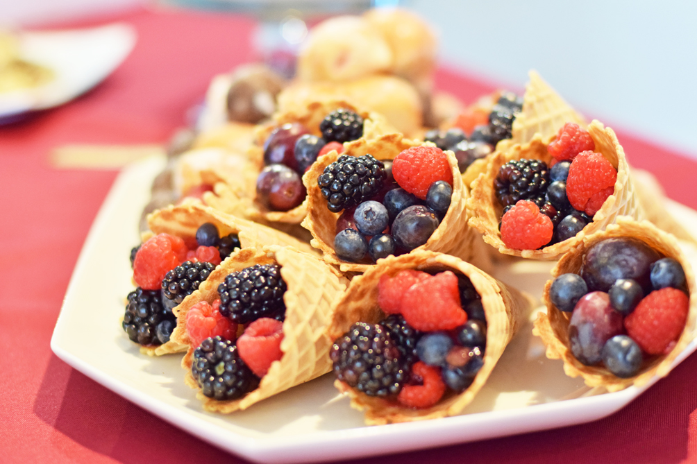 waffle cone fruit display