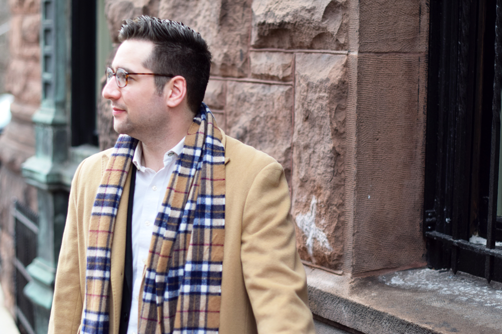 men's style plaid scarf and camel driving coat