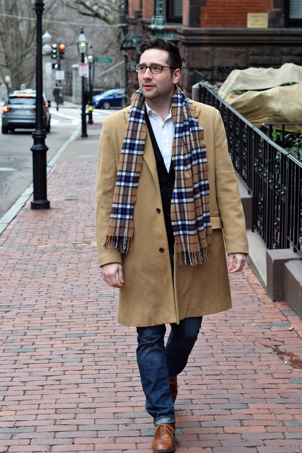 men's camel coat over blazer and slim cut jeans - one brass fox