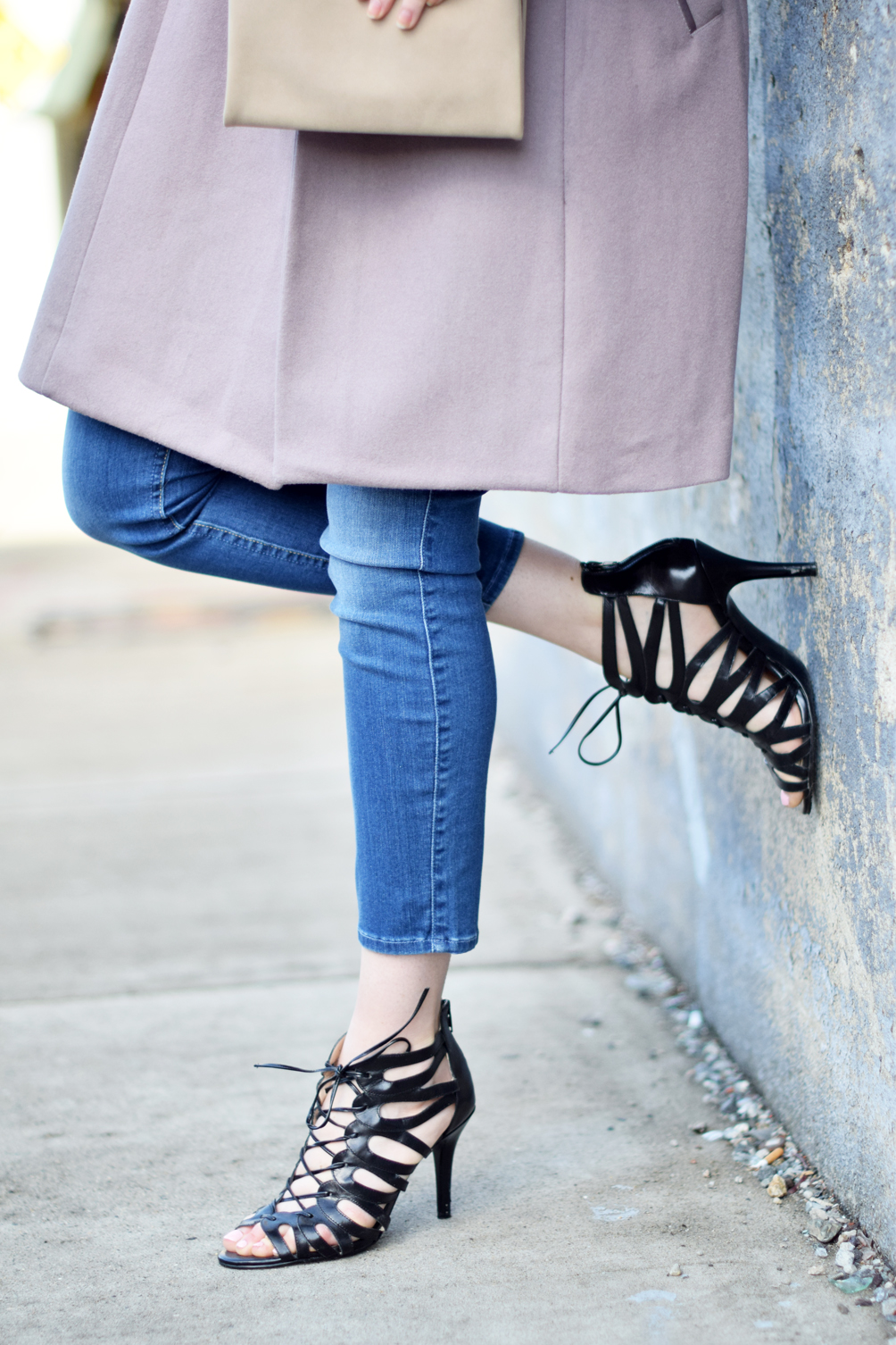 lace up cage sandal pumps - one brass fox