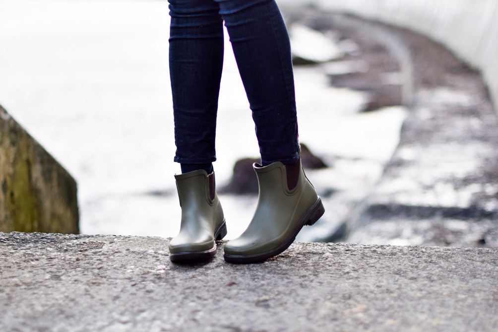SWIMS hunter green rain boots - one brass fox